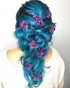 Inspiring Pastel Hair Color Ideas – My hair and beauty Pretty Hairstyles, Braided Hairstyles, Wedding Hairstyles, Fashion Hairstyles, Blue Hairstyles, Fashion Wigs, Pelo Multicolor, Long Box Braids, Fantasy Hair