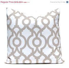 SALE Taupe Pillow Cover, Tan Pillow Covers, Decorative Pillow, ONE Throw Pillow Cover, Lyon Premier Prints Ecru Damask Pillow Chevron Pillow