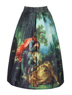 Multicolor Painting High Waist Midi Skirt