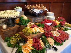A display of Antipasta has been the perfect appetizer for larger wedding receptions. It provides plenty of variety, some really unique flavors that tease your tastebuds before dinner! The visual impact is key for any food spread.