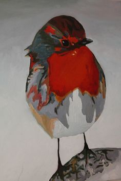 ARTFINDER: Rocky Robin by Emma Cownie - Posterist  oil painting of a Robin.