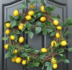 Lemon Wreath by twoinspireyou on Etsy, maybe add some pink for party?