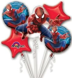 Marvel Spiderman Balloon Birthday Party Favor Supplies 5ct Foil Balloon Bouquet by Anagram -- More info could be found at the image url.