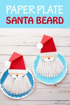 Yarn and paper plate Santa beard craft for kids to make this Christmas. Cute idea for Christmas speech therapy! #santacraft #ChristmasCraft #Santacraftforkids #kidscraftideas #printable