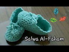 كروشيه لكلوك بناتى من 9-12 شهر ( الجزء الثانى ) - Crochet baby Booties for 9-12 month - YouTube