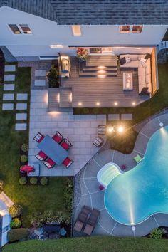 Backyard Pool Designs, Small Backyard Pools, Backyard Patio Designs, Swimming Pools Backyard, Yard Design, Backyard Landscaping, Casas The Sims 4, Backyard Renovations, Outdoor Rooms