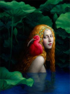Nymph- Oil Painting by Chie Yoshii LA-based, Japanese-born artist Chie Yoshii creates beautiful paintings that explore the analogy between mythological tales and the human psychology. Art Visionnaire, Images Vintage, Pop Surrealism, Mermaid Art, Visionary Art, Japanese Artists, Surreal Art, Female Art, Painting & Drawing