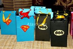 Party favor bags Batman vs superman  http://www.ainycooks.com/perfectly-chocolate-cake-on-my-sonz-birthday/