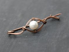 Shawl pin, scarf pin, brooch, sweater pin, cardigan closure, antique copper and pearl elegant shawl pin, wire wrap, modern, minimalist by Keepandcherish on Etsy