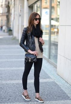 Check out looks & outfits to discover what things to put on with Slip-on Sneakers. slip on sneakers outfit Fashion Moda, Look Fashion, Autumn Fashion, Fashion Outfits, Fashion Styles, Leopard Sneakers Outfit, Tennis Shoes Outfit, Classy Outfits, Fall Outfits