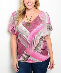 Another great find on #zulily! Pink & Brown Zigzag Scoop Neck Top - Plus #zulilyfinds