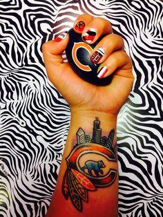 Chicago Blackhawks Nails (my art), Chicago Sports Tatoo