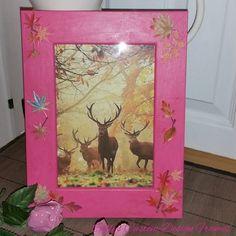 ♥♥ Custom Designed Solid Oak Pink Distressed With Leaf Motif Photo Frame ♥♥