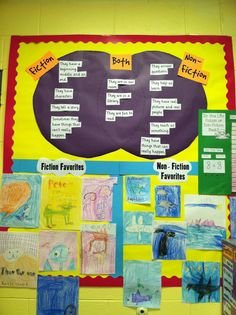 fiction vs. non-fiction... venn diagram, pictures of covers & vote graph. Great library bulletin board!!