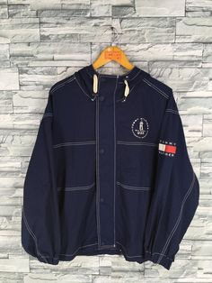 b9d36b3707c TOMMY HILFIGER Jacket Blue Medium Vintage 90 s Sportswear Tommy Multicolor  Tommy Athletic Windbreaker Hoodie Jacket Size