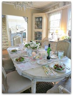Dinner at the Cottage, by Karla Nathan.  Sure would love to host a beautiful dinner just like this one in MY cottage...