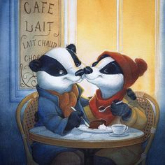 « I could share my chocolate cake with you. It must be true love. Badger Illustration, Love Illustration, Illustration Artists, Character Illustration, Animal Illustrations, Choo, Disney Drawings, Art Pages, Pretty Pictures