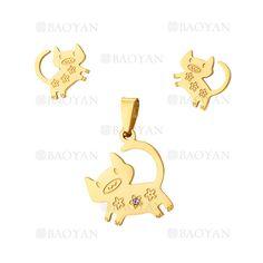 juego colgante y aretes de cochino lindo en acero dorado inoxidable -SSSTG1074285