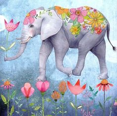 Square card by Mila Marquis by MarquisWonderland on Etsy Más Elephant Love, Elephant Art, Elephant Illustration, Illustration Art, Art Fantaisiste, Art Carte, Square Card, Marquis, Whimsical Art