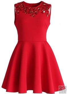 2. #Enchanting Red Embellished #Skater Dress - 21 #Beautiful Dresses You Can Wear to a #Spring #Wedding ... → #Fashion #Sweetheart