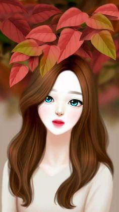 Cute Love Cartoons, Cute Cartoon Girl, Anime Art Girl, Manga Girl, Best Friend Pictures Tumblr, Anime Korea, Lovely Girl Image, Cute Girl Drawing, Cute Couple Art