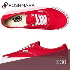 988ba083a4b3f6 Shop Women s Vans Red White size Sneakers at a discounted price at  Poshmark. Description  Like new red women s Vans.