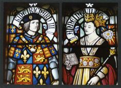 Stained glass portraits of King Richard and Queen Anne in Cardiff