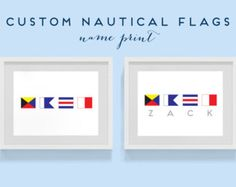 Print Custom Nautical Flag Alphabet Name - Kid's Room, Decor, Beach Decor, Ship, Nautical