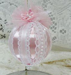 Handmade Christmas Tree Ornament Pink Satin, Ribbons, Bows, Lace & Pearls OOAK #BobbyeDene
