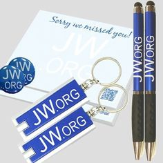 JW.ORG, (2)Return Visit Sticky Notes,(2) Key Chains (2) Stylus Pens,(2) 1in Pins