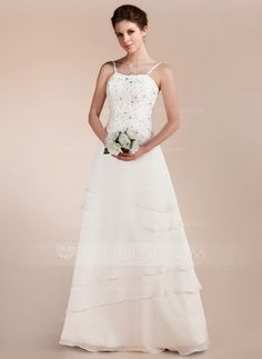 A-Line/Princess Sweetheart Floor-Length Chiffon Satin Wedding Dress With Lace Beading (002011644) - JJsHouse