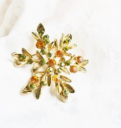 Vintage Antique Gold Leaves Flower Spray by PuddinRidgeCreations