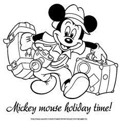 mickey going holiday coloring page