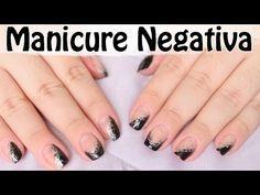 Decoração de Unhas Manicure Negativa   Unhas Metade Coloridas e Metade V...