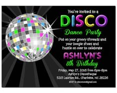 Disco Ball Neon Invitation Printable or Printed with FREE SHIPPING - Personalized for your Party, Birthday, Dance Party, Reunion, Etc.