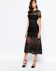 Self Portrait Cutwork Layered Dress in black, midi below-the-knee length  with