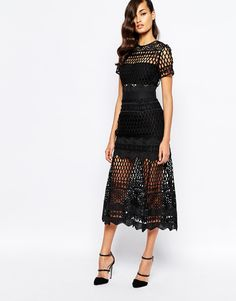 Self Portrait Cutwork Layered Dress in black, midi below-the-knee length with short sleeves and partially lined