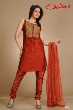 Bottle Green, Red and Beige Art Silk Salwar Suit | Salwar Kameez ...