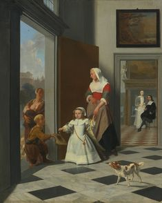 JACOB OCHTERVELT ROTTERDAM 1634 - 1682 AMSTERDAM A CHILD AND NURSE IN THE FOYER OF AN ELEGANT TOWNHOUSE, THE PARENTS BEYOND signed and dated on floor lower right:  J. Ochtervelt f./1663 oil on canvas 32 by 26 1/4  in via Sotheby's