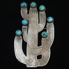 Turquoise Soul  . . .   Cactus Pin Brooch Vintage Sterling Silver Turquoise Don Lucas