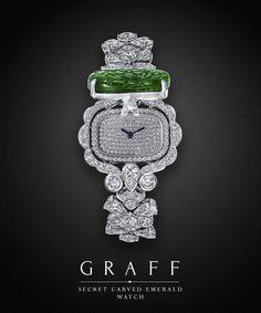 Graff Emerald Face Watch With Diamonds.