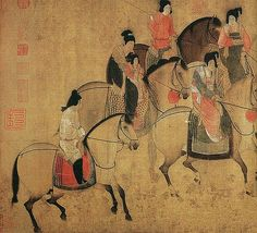 China Online Museum - Chinese Art Galleries 唐-张萱-虢国夫人游春图b  Painted by the Tang Dynasty artist Zhang Xuan 张萱.