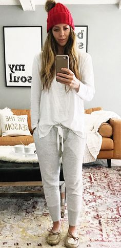 #winter #outfits women's white long-sleeved shirt and heather-grey pants. Click To Shop This Look.