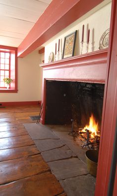 Hudson Valley Dutch. Primitive Fireplace, Home Fireplace, Fireplace Design, Fireplace Mantels, Mantles, Colonial Home Decor, Colonial Decorating, New England Homes, New Homes