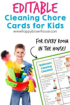 These Cleaning Chore Cards for Kids include everything needed to clean the home with your child's help. Simply print, laminate, and place on a ring for flippable chore task cards. Organize your child's chores with step-by-step task cards and lower mom's n