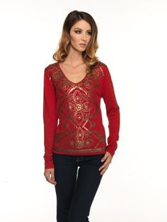 LT04-02 Love Token Embroidered Long Sleeve Top Women's love. $73.00