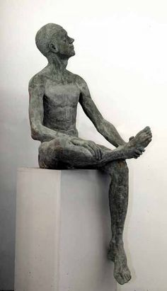 Stained concrete Garden Or Yard / Outside and Outdoor sculpture by artist John Cyril O`Connor titled: 'Helder (nude Sitting life size Man garden Yard statues)'
