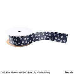 Dark Blue Flowers and Dots Pattern Satin Ribbon