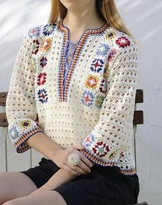 Ravelry: 1 - Colorful pullover pattern by Puppy (Daidoh International, Ltd.)