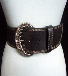 Wide Moroccan Leather Belt Cast Metal Buckle